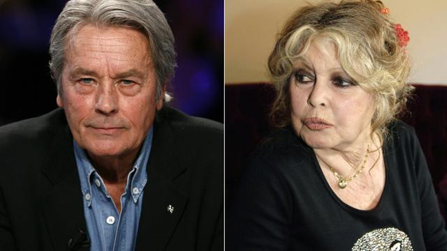 Deux photos des acteurs Alain Delon (à gauche) le 7 janvier 2008 à Paris, et Brigitte Bardot le 28 septembre 2006 à Paris [Kovarik/de Sakutin / AFP/Archives]