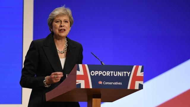 La Première ministre britannique Theresa May prononce un discours en clôture du congrès des Tories, le 3 octobre 2018 à Birmingham  [Oli SCARFF / AFP]