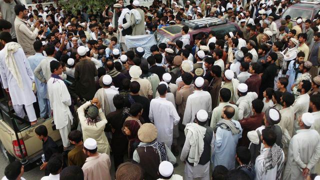 Des Afghans manifestent le 16 septembre 2012 contre l'intervention des forces de l'Otan à la suite d'un bombardement au cours duquel 8 femmes ont trouvé la mort [waseem Nikzad / AFP/Archives]