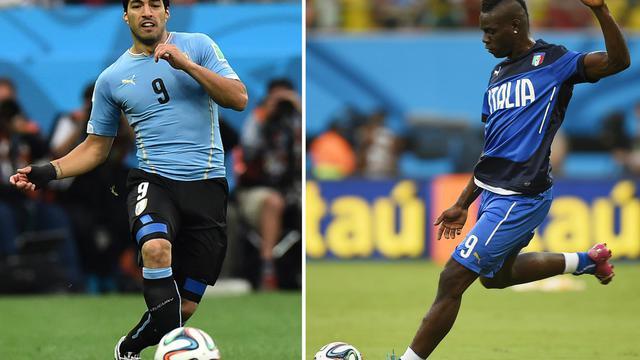 Photomontage des attaquant uruguayen Luis Suarez (g) et italien Mario Balotelli  [Ben Stansall, Daniel Garcia / AFP/Archives]