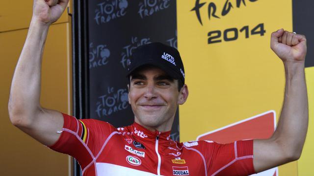 Le Français Tony Gallopin après sa victoire sur la 11e étape du Tour de France le 16 juillet 2014, courue entre Besançon et Oyonnax. [Eric Feferberg / AFP/Archives]