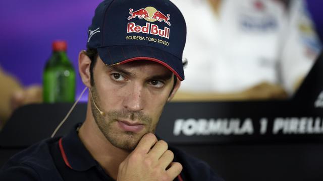Le pilote français de Toro Rosso Jean-Eric  Vergne lors d'une conférence de presse au GP de Hongrie, le 24 juillet à Budapest [Dimitar Dilkoff / AFP/Archives]