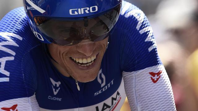 Le Français Sylvain Chavanel lors du contre-la-montre du Tour de France, le 26 juillet 2014 à Périgueux [Eric Feferberg / AFP/Archives]