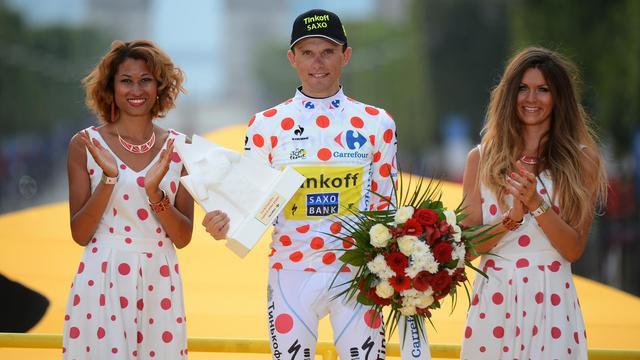 Le Polonais Rafal Majka, maillot à pois du dernier Tour de France, sur le podium à Paris après la 21e et dernière étape, le 27 juillet 2014. [Jérôme Provost / AFP/Archives]