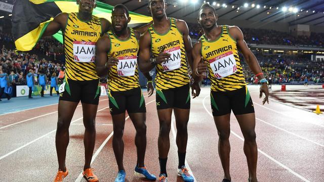 Les Jamaicains, vainqueurs du 4x100 m aux Jeux du Commonwealth, le 2 août 2014 à Glasgow [Ben Stansall / AFP]