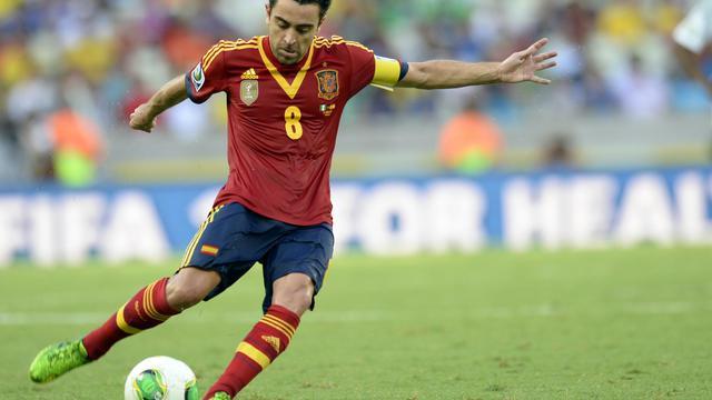 Le milieu espagnol Xavi Hernandez, lors d'un match du Mondial contre le Nigeria, le 23 juin 2014 Fortaleza [Lluis Gene / FILES/AFP]