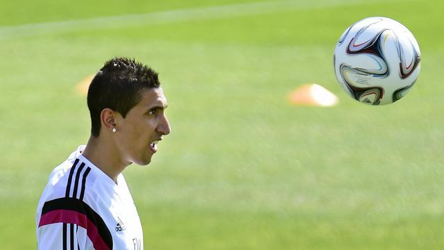 Le milieu offensif argentin du Real Madrid Angel Di Maria, lors d'un entraînement, le 5 août 2014 [Gerard Julien / AFP/Archives]