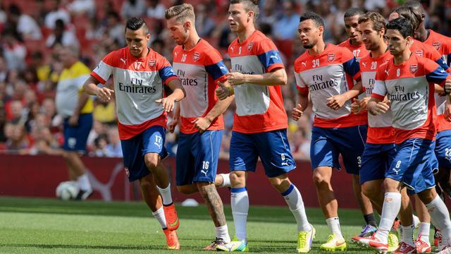 Les joueurs d'Arsenal à l'échauffement avant un match lors de l'Emirates Cup, le 7 août 2014 à Londres [Leon Neal / AFP/Archives]