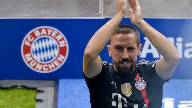 Franck Ribéry, lors de la présentation officielle du Bayern, le 9 août 2014 à Munich [Günter Schiffmann / AFP]