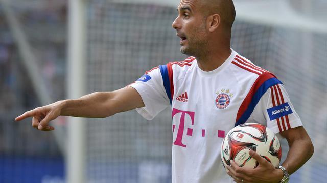 L'entraîneur du Bayern Munich Pep Guardiola, lors d'un entraînement à l'Allianz Arena de Munich, le 9 août 2014 [Guenter Schiffmann / AFP/Archives]
