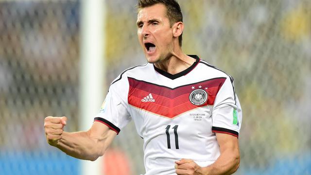 Miroslav Klose lors du match de Coupe du Monde entre l'Allemagne et le Ghana, dans le groupe G, le 21 juin 2014 à Fortaleza [Javier Soriano / AFP]
