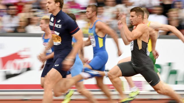 Le Français Christophe Lemaitre, vainqueur de sa série du 100 m aux Championnats d'Europe à Zurich, le 12 août 2014 [Fabrice Coffrini / AFP]