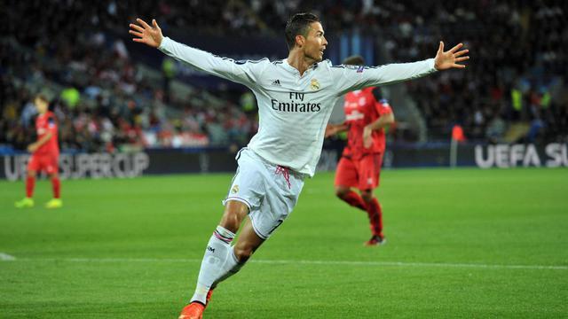 L'attaquant du Real Madrid Cristiano Ronaldo, auteur d'un doublé contre le Séville FC, en Supercoupe d'Europe, le 12 août 2014 à Cardiff [Glyn Kirk / AFP]