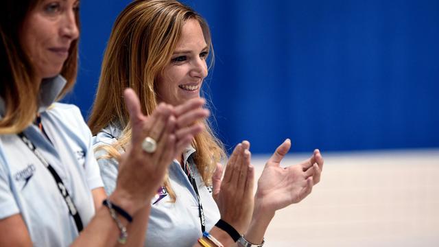 L'ancienne championne de natation synchronisée, Virginie Dedieu, coach de l'équipe d'Espagne, lors des qualifications aux Championnats d'Europe le 15 août 2014 à Berlin. [Damien Meyer / AFP]