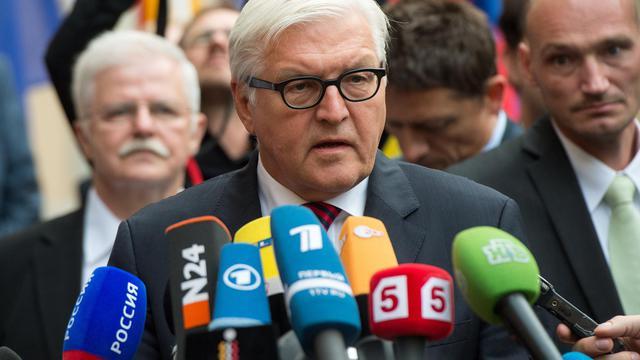 Le ministre allemand des Affaires étrangères Frank-Walter Steinmeier s'adresse à la presse sur la situation en Ukraine le 17 août 2014 à la Villa Borsig à Berlin [Maurizio Gambarini / DPA/AFP]