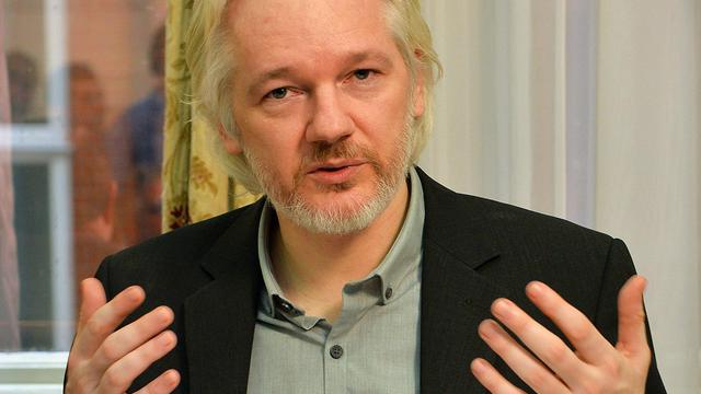 Julian Assange le 18 août 2014 à l'ambassade d'Equateur à Londres [John Stillwell  / Pool/AFP]