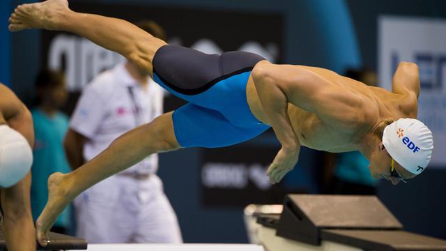 Le Français Yannick Agnel lors des séries du 200 m nage libre aux Championnats d'Europe à Berlin, le 19 août 2014 [John MacDougall / AFP]