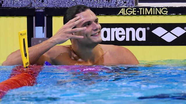 Florent Manaudou après la finale du 50 m libre des championnats d'Europe de natation à Berlin, le 24 août 2014 [Tobias Schwarz / AFP]