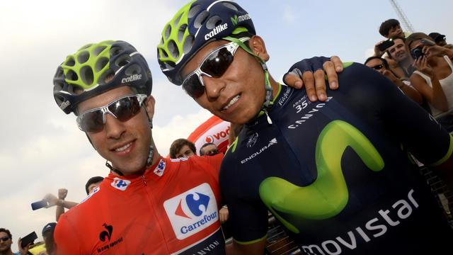 Le coureur colombien de Movistar Nairo Quintana pose avant le départ de la 2e étape de la Vuelta courue d'Algeciras à San Fernando, le 24 août 2014 [ / AFP/Archives]