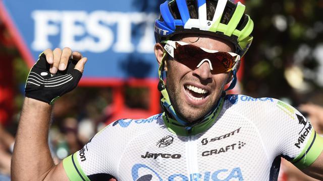 L'Australien Michael Matthews (Orica GreenEdge) célébrant sa victoire lors de la 3e étape de la Vuelta à Arcos de la Frontera, le 25 août 2014 [José Jordan / AFP]