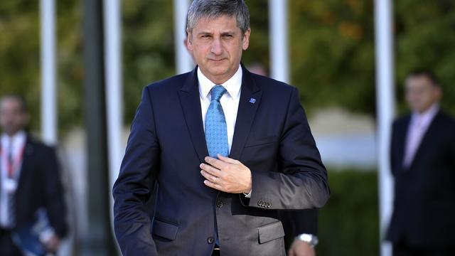 Le ministre autrichien des Finances, Michael Spindelegger, à Athènes le 1er avril 2014 [Louisa Gouliamaki / AFP/Archives]