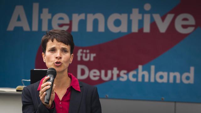 "Frauke Petry, chef de file du parti ""Alternative für Deutschland"" à Dresde, le 25 août 2014 [Odd Andersen / AFP/Archives]"