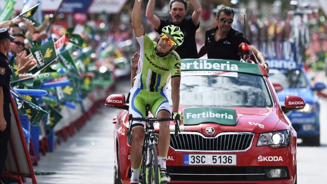 Le coureur de Cannondale Alessandro de Marchi franchit  en solitaire la ligne d'arrivée de la 7e étape du tour d'Espagne, le 29 août 2014 à Alcaudete [ / AFP]