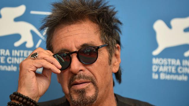 """L'arteur américain Al Pacino présente le film """"Manglehorn"""", de David Gordon Green, en compétition à la 71e Mostra de Venise le 30 août 2014 au Lido [Tiziana Fabi / AFP]"""