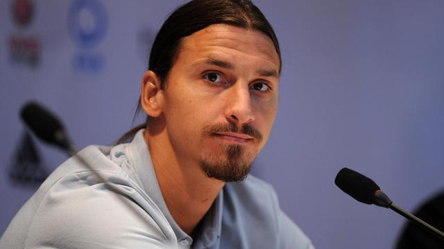 L'attaquant suédois du PSG Zlatan Ibrahimovic lors d'une conférence de presse  à Pékin, le 1er août 2014 [Wang Zhao / AFP]