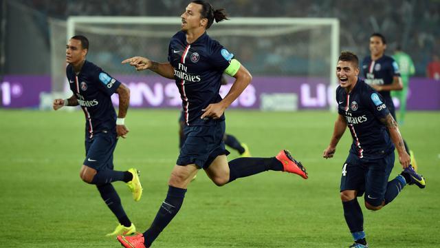 L'attaquant du PSG Zlatan Ibrahimovic après un but lors du Trophée des champions face à Guingamp, le 2 août 2014 à Pékin [Greg Baker / AFP/Archives]