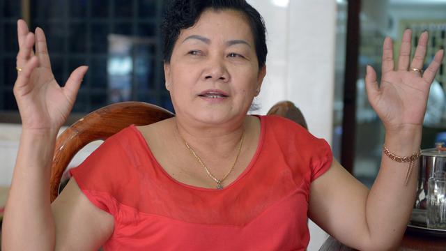 La rescapée de la terreur de Khmers rouges Ung Simonavy, le 31 juillet 2014 à Phnom Penh [Tang Chhin Sothy / AFP]