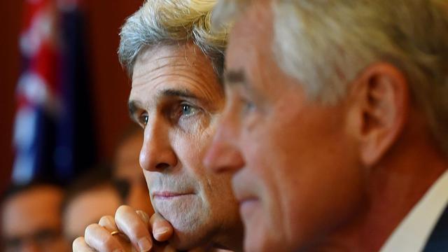 Le secrétaire d'État John Kerry et son homologue de la Défense Chuck Hagel en visite à Sydney (Australie), le 12 août 2014 [Dan Himbrechts / Pool/AFP]