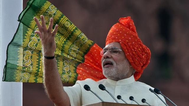 Le Premier ministre indien Narendra Modi délivre un discours le 15 août 2014 à New Delhi [Prakash Singh / AFP]