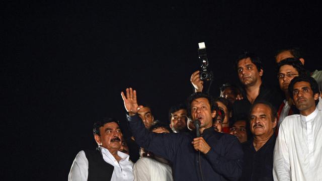 Imran Khan s'adresse à ses partisans à Islamabad le 20 août 2014  [Farooq Naeem / AFP]