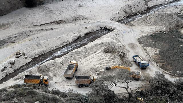 Vue de la carrière à Catequilla, près de Quito, en Equateur, où deux ouvriers ont trouvé la mort dans un tremblement de terre le 12 août 2014 [Juan Cevallos / AFP]