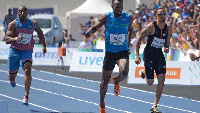 Le Jamaïcain Usain Bolt lors d'une course exhibition à Rio de Janeiro, le 17 août 2014 [Vanderlei Almeida / AFP/Archives]