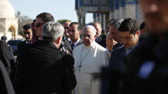 Le Pape François arrive sur l'Esplanade des Mosquées à Jérusalem, le 26 mai 2014 [Thomas Coex / AFP]