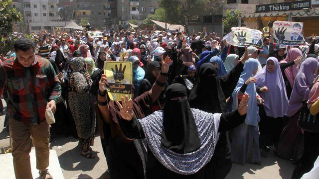 Manifestation de partisans des Frères musulmans pour marquer le premier anniversaire de l'éviction du pouvoir du président islamiste Mohamed Morsi, au Caire, le 4 juillet 2014 [Khaled Kamel / AFP/Archives]