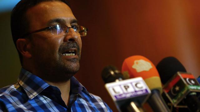 Mohammed Hadia, le porte-parole de  Fajr Libya, lors d'une conférence de presse le 23 août 2014 à Tripoli [Mahmud Turkia  / AFP]