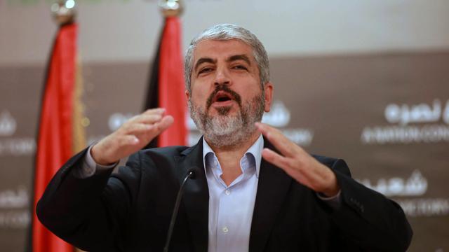 Le chef du Hamas Khaled Mechaal lors d'une conférence de presse à Doha le 28 aout 2014 [Karim Jaafar / Al Watan Doha/AFP]