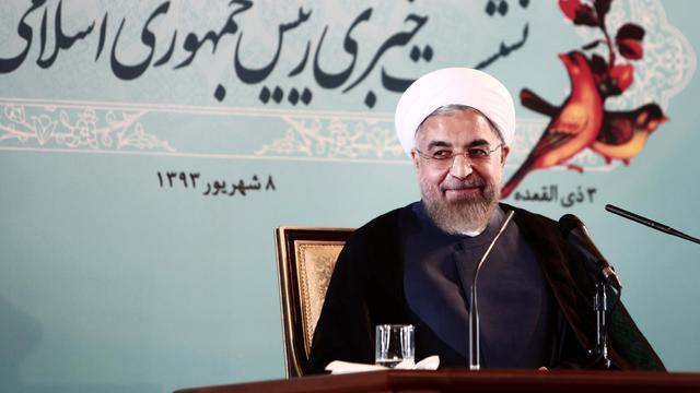 Le président iranien Hassan Rohani lors d'une conférence de presse à Téhéran le 30 août 2014 [Behrouz Mehri  / AFP]