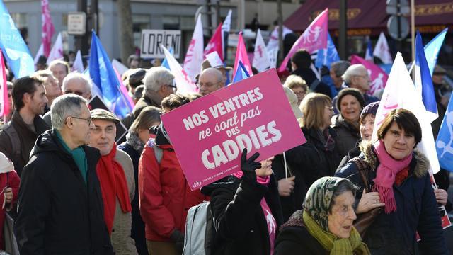 """Des participants à """"La Manif pour Tous"""" défilent le 2 février 2014 à Paris"""