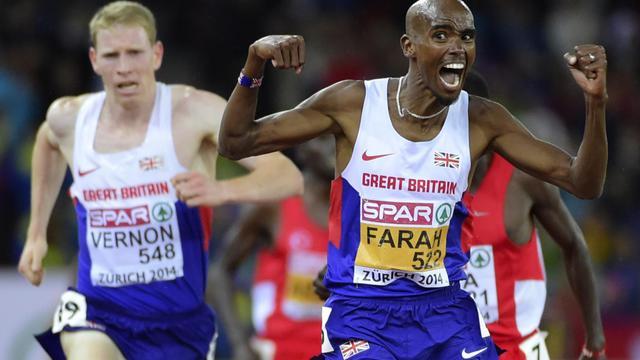 Le Britannique Mo Farah, vainqueur du 10.000 m aux Championnats d'Europe, le 13 août 2014 à Zurich [Olivier Morin / AFP]