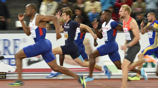 Le Britannique James Dasaolu sacré champion d'Europe du 100 m devant le Français Christophe Lemaitre et un autre Britannique Harry Aikines-Aryeetey, le 13 août 2014 à Zurich [Fabrice Coffrini / AFP]