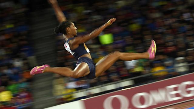 La Française Eloyse Lesueur, championne d'Europe à la longueur, le 13 août 2014 à Zurich [Fabrice Coffrini / AFP]