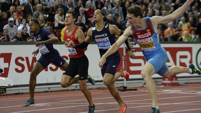 (De gauche à droite) Dimitri Bascou, le Hongrois Balazs Baji, Pascal Martinot-Lagarde and le vainqueur de la finale du 110 m haies, le Russe Sergey Shubenkov le 14 août 2014 à Zurich [Franck Fife / AFP]