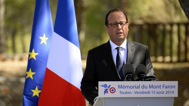 Le président François Hollande, lors des cérémonies de commémoration du Débarquement, le 15 août 2014 au Mont Faron [Alain Jocard / AFP]