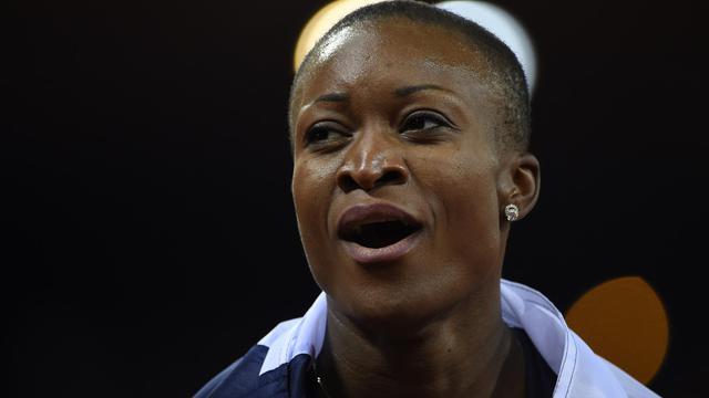 Antoinette Nana Djimou après sa 2e place au 800 m à Zurich le 15 août 2014 [Olivier Morin / AFP]