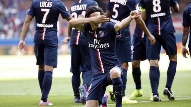 L'attaquant du PSG Edinson Cavani, auteur du 2e but contre Bastia, le 16 août 2014 au Parc des Princes [Thomas Samson / AFP]