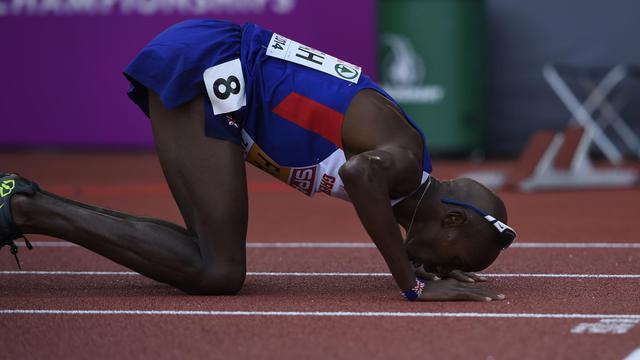 Le Britannique Mo Farah après avoir remporté le 5000 m, le 17 août 2014 à Zurich  [Fabrice Coffrini / AFP]